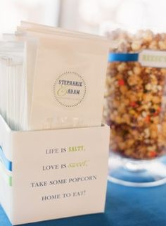 very cute. Life is Salty, Love is Sweet, Take some popcorn home to eat. bags for popcorn bar