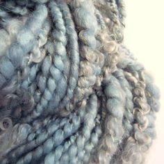 Handspun yarn art yarn pastel blue textured wool by thefibretree