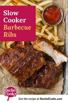Try slow cooker ribs, so tender and juicy, with loads of flavor from a homemade dry rub and lots of barbecue sauce. Fix 'em and forget 'em for up to ten hours. Amish Recipes, Meat Recipes, Crockpot Recipes, Cooking Recipes, Healthy Recipes, Slow Cooker Barbecue Ribs, Barbecue Sauce, Large Slow Cooker, Salad With Sweet Potato