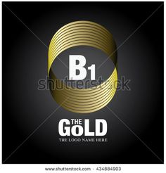 Vector graphic elegant gold logo and font . Symbol of money and business. Letter B and 1