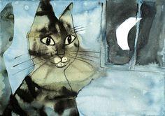 """Illustration by Józef Wilkoń from the Polish children's book """"Kici kici miau"""" (Little Kitty Miaow Miaow)"""