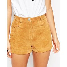 137f531190 ASOS Suede Shorts ($29) ❤ liked on Polyvore featuring shorts, high-waisted  shorts, high waisted zipper shorts, asos shorts, zipper shorts and  high-rise ...