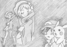 from Episode 79 ©Satoshi Tajiri/Nintendo Satoshi - Serena, . Images Kawaii, Pokemon Ash And Serena, Pikachu, Satoshi Tajiri, Ashes Love, Micro Lego, Pokemon Ships, I Love Anime, Manga