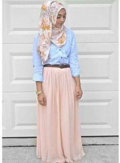 Hijab outfit. Bleached chambray button up. Peach maxi skirt with a floral hijab scarf and a gold watch