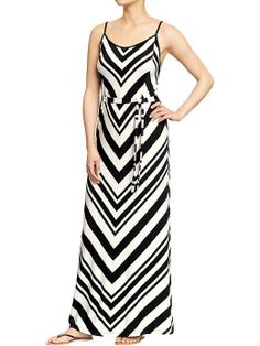 NWT Old Navy Spr 2014 Chevron-Stripe Maxi Dress, Black Stripe, sz SP