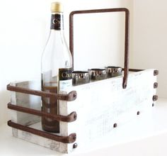 Wine Caddy Carrier Rustic Farm to Table Serving Tray