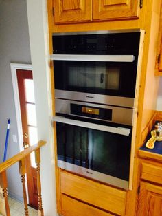Miele microwave + oven. Electricians have to wire the 110 volt outlet for microwave.