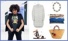 Julee Wilson, Fashion & Beauty Editor: 1. Eden Striped Shirt Dress, $109; 2. BaubleBar Sapphire Seer Strand, $48; 3. Brother Vellies Leopard Karen Sandal, $395; 4. Lee Coren Landscape Clutch California, $33; 5. Kayu St Tropez Tote Bag, $115