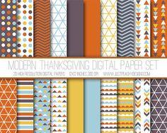 Modern Thanksgiving Digital Paper, Orange Brown Aqua Blue Mustard Yellow, Geometric Pattern Digital Background, Scrapbook Paper, Web Design