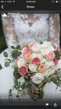 White and pink bridal bouquet by Berry & Bloom Floral at V. Sattui Winery, St. Helena, Ca.