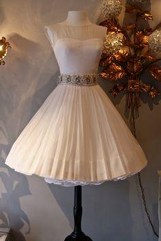 1960's Lilli Diamond white chiffon goddess dress