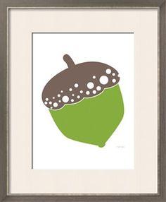 Green Acorn Print by Avalisa at Art.com