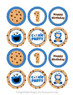 Cookie Monster Cupcake Toppers 1st Birthday by SugarPickleParty