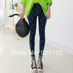 2009 Free Shipping High Quality Womens Fashion 2014 New Casual Embroidery Cross Embellished Slim Skinny Pencil Jeans