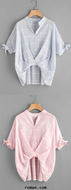 V-Cut Tie Sleeve Twist Front Grid Blouse