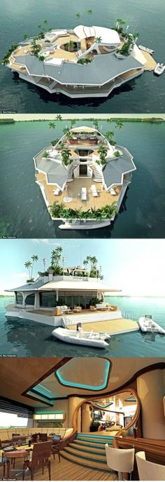 Floating Island Boat. i can probably live in this. not a bad life