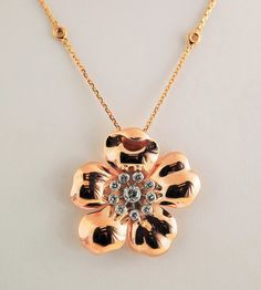 Large Vintage~ 14k Pink Gold Flower With Diamonds - 1940's