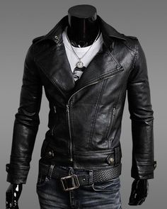 Jaqueta masculina de couro sintético estilo motorcycle