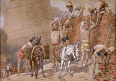 Phillip Medhurst presents 025/788 James Tissot Bible c 1899 Building the Tower of Babel Genesis 11:4 Jewish Museum New York. By (James) Jacques-Joseph Tissot, French, 1836-1902. Gouache on board.