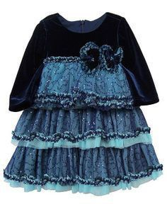 Isobella & Chloe Sabrina Navy Velvet Sequin Ruffle Dress