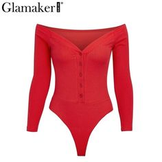 Glamaker Off shoulder buttons red sexy bodysuit Women fashion white bodycon one-pieces Slim soft party winter jumpsuits rompers - May 04 2019 at Lila Outfits, Cute Outfits, Office Outfits, Work Outfits, Cute Bodysuits, Pullover Shirt, Red Bodysuit, Fashion Outfits, Womens Fashion