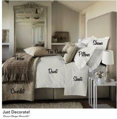 Want to sleep like your in a hotel every night? Learn the necessary bedding pieces! My Home Design, House Design, Cool Style, Cozy Bedroom, Bedroom Ideas, Beautiful Homes, Guest Room, Shabby Chic, Furniture