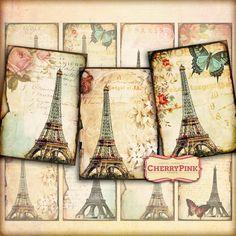 PARIS EPHEMERA scrapbooking paper supply by CherryPinkPrints