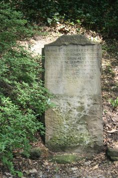 This memorial on the Carriage Trail in Charleston, West Virginia, marks the place where two women, convicted of spying during the Civil War, were executed and buried nearby.