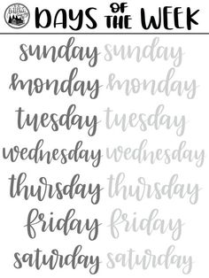 Brush Lettering FREEBIE: Days of the Week Practice Sheet – Whole Lotta' Southern Brush Lettering FREEBIE: Days of the Week Practice Sheet brush lettering freebie days of the week procreate pdf practice sheets free Brush Lettering Worksheet, Lettering Guide, Hand Lettering Practice, Hand Lettering Tutorial, Hand Lettering Alphabet, Doodle Lettering, Lettering Styles, Calligraphy Practice Sheets Free, Chalk Typography