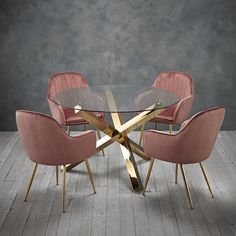 New Dining set round glass table with gold legs and 4 pink velvet dining chairs Dining Furniture Sets. offers on top store Glass Round Dining Table, Dinning Set, Dining Chair Set, Dining Room Design, Glass Table, Dining Room Table, Dining Area, Round Glass, Fabric Dining Chairs