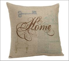 """Home Sentiment Pillow Cover from Pottery Barn. Iconic images of home decorate this pillow cover, woven from a linen/hemp blend for rich texture. 20"""" square. Reverses to solid. Hidden zipper closure, insert sold separately. Hand wash. I fell in love with this pillow when I saw it at my local PB store and had to get it. I've had mine for a couple of years already, and it's still one of my favorites!"""