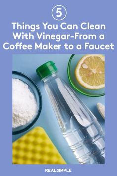 5 Things You Can Clean With Vinegar—From Your Coffee Maker to Your Microwave   Learn how vinegar is a natural cleaning solution that can clean many items throughout the kitchen, bathroom, and laundry room as it can break down mineral deposits and cut through stains. Here's how to clean almost everything with white vinegar, from your tea kettle to cloudy wine glasses. #cleaningtips #cleanhouse #realsimple #stepbystepcleaning #cleaninghacks #cleaningguide Natural Cleaning Solutions, Natural Cleaning Products, House Cleaning Tips, Cleaning Hacks, Eco Friendly Cleaners, Laundry Hacks, White Vinegar, Tidy Up, Real Simple