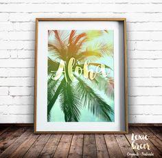Tropical Art Print, Palm Tree Print, Aloha, Palm Trees Photo, Tropical  Decor, Printable Art, Palm Trees Wall Art by LexieGreerPrintables on Etsy https://www.etsy.com/listing/252200643/tropical-art-print-palm-tree-print-aloha