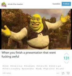 """This Actual Footage™ of me finishing a class presentation. 