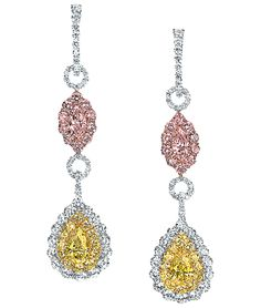Cellini Jewelers-Fancy Pink and Yellow Diamond Drop Earrings
