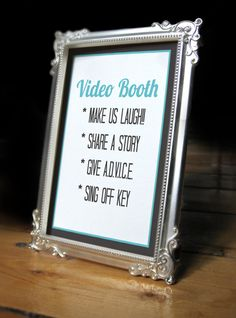 Printable Wedding Video Booth Sign,Wedding reception sign,video booth, photo booth sign, unique wedding guest book sign