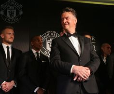"""""""This is my first awards night here and I am enjoying it already!"""" says Louis van Gaal. #mufcPoTY 19.5.2015"""