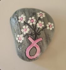 Hand-painted Arizona River Rock Believe in Miracles breast cancer awareness.