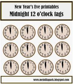 free printable New Year's Eve table decoration – 2013 mini bunting, good luck charms, clock and star snack toppers – Silvester Deko-Vorlagen | MeinLilaPark