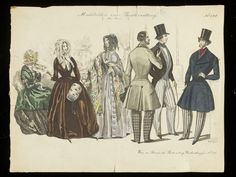 1840s Early. Three Ladies and Three Gentlemen. Austrian Fashion Plate collections.vam.ac.uk austrian fashion plate, early 1840s