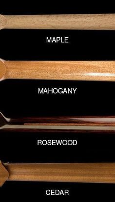 Compare standard woods for guitar neck: maple, mahogany, rosewood, cedar.