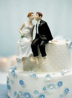Cake Topper: Just One Kiss Caucasian Bride and Groom Cake Topper