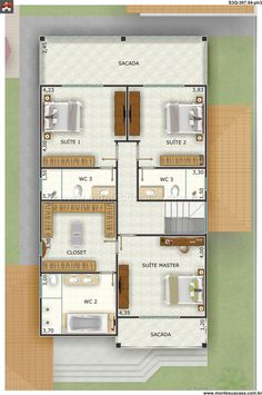 Sobrado 0 Quartos - 307.04m² Dream House Plans, Small House Plans, My Dream Home, Suite Master, Craftsman Floor Plans, Villa Plan, House 2, Home Projects, Building A House