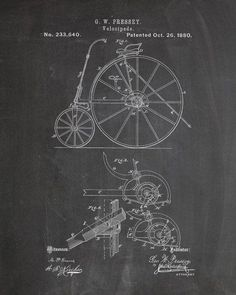 You will love this unique archive print of an 1880 Bicycle patent, presented as a vintage industrial or steampunk style drawing. It is part of our curated collection of the most unique, novel and eleg