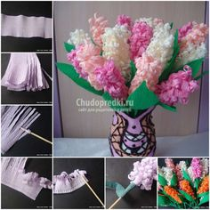 DIY Beautiful Crepe Paper Hyacinth Flower CraftSmile is part of Paper crafts diy - Get inspired by DIY Beautiful Crepe Paper Hyacinth Flower Discover the world's best crafts tutorials and creative DIY ideas on Craftsmile com Happy Crafting! Paper Crafts For Kids, Diy Paper, Fun Crafts, Diy And Crafts, Paper Crafting, Paper Art, Flower Crafts, Diy Flowers, Handmade Decorations