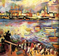 1906 Port D'anvers. Othon Friesz was born in Le Havre in 1879. Over the years Friesz abandoned his former nature-orientated concept in favour of works formed by Fauvism.