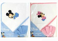 Disney Mickey Minnie Mouse Infant Baby Bath Hooded Towel w Washcloth - BLUE PINK