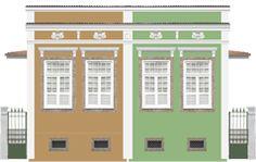 Fachadas | Casa do Rio Casas geminadas - Final do século XIX Afastamento lateral da construção permite melhor iluminação e arejamento internos / Acesso e alpendre na lateral / Piso suspenso sobre porão / Telhado de quatro águas