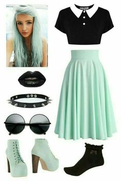 10 Super Cute Rock Outfit Ideas That You Can Try // out Image Size: 564 x 843 Pin Boards Name: Neue Frisuren Pastel Goth Fashion, Kawaii Fashion, Cute Fashion, Fashion Outfits, Womens Fashion, Gothic Fashion, Pastel Goth Style, Pastel Goth Clothes, Pastel Goth Shoes