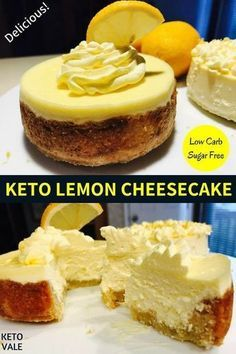 Keto Lemon Cheesecake Low Carb Sugar Free Healthy and Easy Recipe # Easy Recipes low carb Keto Lemon Cheesecakes with Almond Crust Low Carb Sugar Free Recipe Desserts Keto, Brownie Desserts, Sugar Free Desserts, Sugar Free Recipes, Low Carb Recipes, Dessert Recipes, Keto Snacks, Dinner Recipes, Sugar Free Lemon Cake